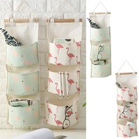 Cotton Linen Cloth Art Storage Hanging Bag Multi-storey Storage Box Desk Organizer Folding Jewelry Cosmetic Makeup Organizer
