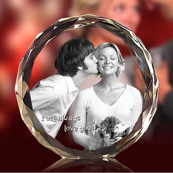 Customized Laser Engraved Crystal Fotos Frame Round Family Wedding Photo Album Valentine's Day Anniversary Picture Frames Gifts