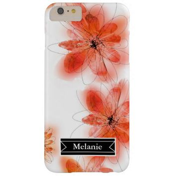 personalized pretty watercolor flowers barely there iPhone 6 plus case