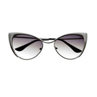 Celebrity Designer Fashion Style Metal Cat Eye Sunglasses C77