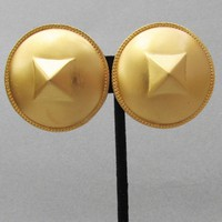 1980's Vintage Signed Liz Claiborne HUGE Brushed Gold Tone Button Pierced Earrings