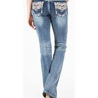 Grace in LA Women's Medium Blue Tribal Pocket Jeans - Boot Cut