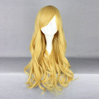 Harajuku Gold Side Bang Wavy Synthetic Fiber High Temperature Cosplay Wig Anime Costume Hair