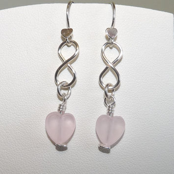 Silver Infinity Earrings, Pink Heart Charms, Wirework Links, Friendship Earrings, Pierced Ears, Hand Crafted, Hand Forged
