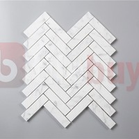 "Bianco Carrara White Marble 1x4"" Herringbone Pattern Mosaic Tile Polished"