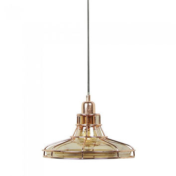 Euro Style Collection Budapest Copper Glass  Ceiling Lamp