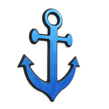 Anchor Wall Decor nautical wall hanging for beach decor made to order hand painted metallic marine blue wooden anchor