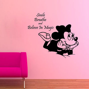 Disney Mouse Wall Decals Smile Breathe Believe in Magic Quotes Children Vinyl Sticker Words Baby Kids Wall Art Girl Nursery Room Decor KG659