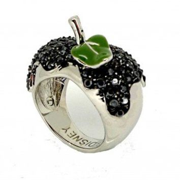 Disney Couture Snow White Silver & Black Crystal Poison Apple Ring  at Zentosa