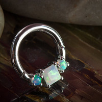 14K white gold horizontal princess clicker with opals
