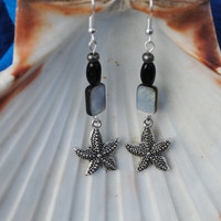 Starfish earrings; beach earrings; ocean theme earrings; black white earrings; shell earrings; summer earrings; sea life earrings