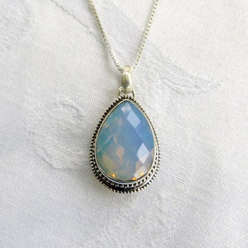 "Fire Opalite Necklace, Sterling Silver Opal Pendant,  18"" Sterling Chain, Bali Style Jewelry"