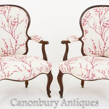 Canonbury - Pair Hepplewhite Arm Chairs - Mahogany Fauteuil Chair 1800