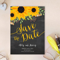 Sunflower Save the date cards printed | Chalkboard sunflower save the dates | Country wedding save the date cards