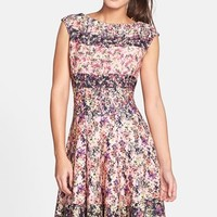 Women's Gabby Skye Floral Print Scuba Fit & Flare Dress