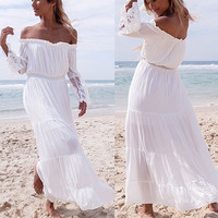 FANALA Slash Neck Dress 2017 Women Long Flare Sleeve Lace Patchwork Off Shoulder White Maxi Boho Beach Dress Vestido Sundress