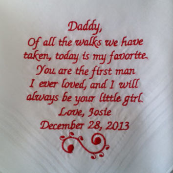 Striped Dad Personalized Wedding Handkerchief. Gift for the Father of the Bride FREE Gift Envelope/Box included.