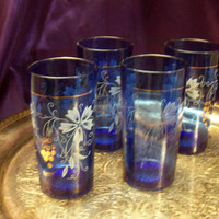 Vintage Cobalt Blue Juice Glasses, Enameled Grape Leaf Design, Gold Grape Clusters, Depression Era Glassware, Set of Four