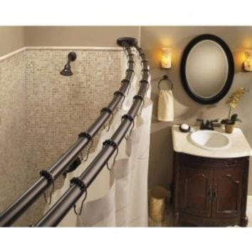 MOEN Curved 57 in. Adjustable Shower Rod in Old World Bronze DN2140OWB at The Home Depot - Mobile