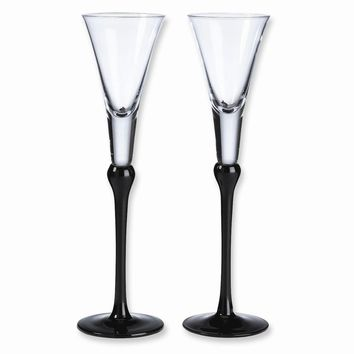 Black Glass Toasting Flutes