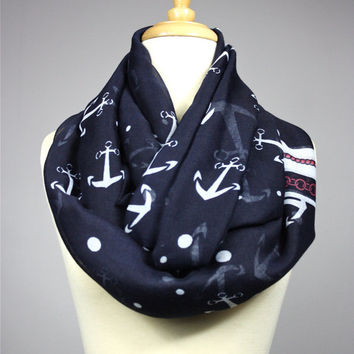 Anchor infinity scarf - nautical scarf - nautical infinity scarf - light scarf - Navy scarf - sailor scarf - Navy infinity scarf