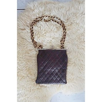 Vintage 1960s Quilted + Leather Chain-Strap Bag