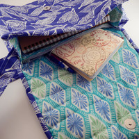 Quilted crossbody Sling Summer colors Kate Spain Horizon with matching zipper pouch Blue Green Purple