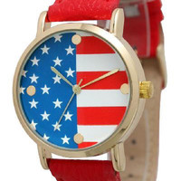 Strap Band American Flag Watch