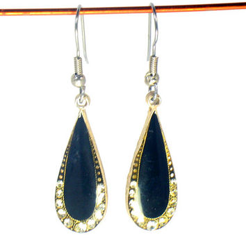 Black Onyx Earrings, Lined with Sparkle Crystals, Luxurious