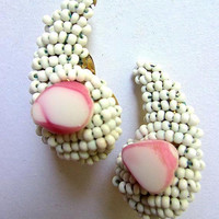 HOBE' Milk Glass Beads & Shell Earring, Paisley Shape, White Pink, Vintage