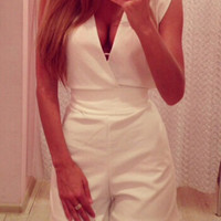 White V-Neck Sleeveless Romper