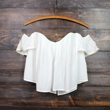 boho chic off the shoulder crop top | white Day-First™