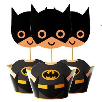 Batman Dark Knight gift Christmas 120pc Super Batman Party Paper Cupcake wrappers toppers for kids birthday party decoration cake cups(60pcs wraps+60pcs toppers) AT_71_6