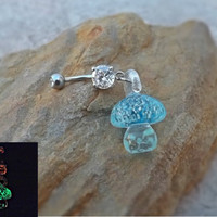 Glow In the Dark Aqua Blue Glass Mushroom Belly Ring Body Jewelry 14ga