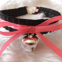Black Ruffled Pink Ribbon Cosplay Anime Maid Choker Cat Bell Collar Necklace Kitty Neko Slave BDSM Japanese Costume Lolita Kawaii Valentines