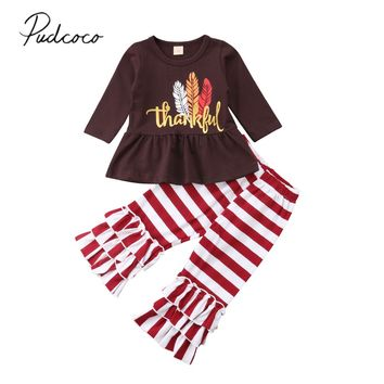 2018 Brand New Thanksgiving Toddler Baby Girl Clothes Sets Longsleeve Ruffles Letter Turkey Tops Striped Flare Pants Outfit 1-6Y