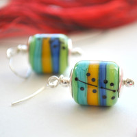 Lime Green Abstract Earrings - Lampwork Glass Dangle - Blue, Yellow, Green Striped Earrings