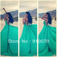 Attractive A line Halter Sleeveless Open Back Long Green Blue Prom Dresses 2014 For Fashionable Lady's Party Gown-in Prom Dresses from Apparel & Accessories on Aliexpress.com | Alibaba Group