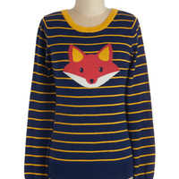 ModCloth Critters Mid-length Long Sleeve Face the Fox Sweater