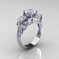 Classic 14K White Gold Three Stone Princess Cubic Zirconia Diamond Solitaire Engagement Ring R500-14KWGDCZ