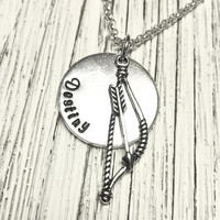 Personalized Bow and Arrow necklace Archer Gift Archery Hand stamped Archery gift custom necklace sports