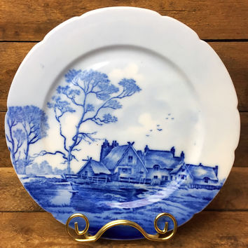 Vintage Blue Delft China Salad Plate Country Home Scene Germany