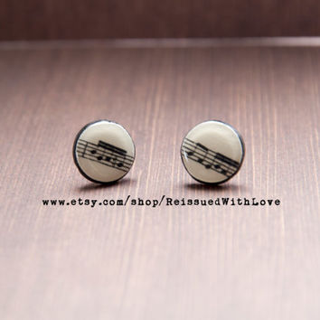 Stud Earrings, 12mm,  Recycled Vinyl Record stud Earrings, Music Notes, vintage, retro gift idea, cool jewelry, unique, funky, musician