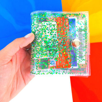Green wallet Iridescent Glitter wallet Business Card Holder Gift Card Holder mermaid vinyl ID holder vegan playboy 90s cashier wallet vegan