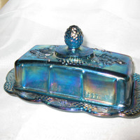 Indiana Blue Carnival Glass butter Dish From The Late 1950' to early 1960's