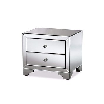 Farrah Hollywood Regency Glamour Style Mirrored 2-Drawer Nightstand By Baxton Studio