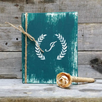 Personalized Teal Rustic Wedding Guest Book with Twine Wrapped Flower Pen, Bridal Wedding Gift, Distressed Guest Book, Wedding Advice Book