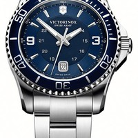 Men's Victorinox Swiss Army 'Maverick GS' Stainless Steel Watch, 43mm - Silver/ Blue