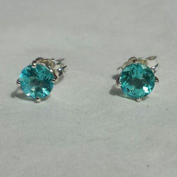 Blue Apatite 5mm Stud Earrings. 925 Sterling Silver. Aqua Blue. Handmade Jewelry.
