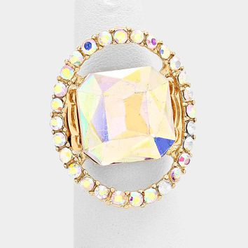 Crystal Open Oval Pave Statement Stretch Ring